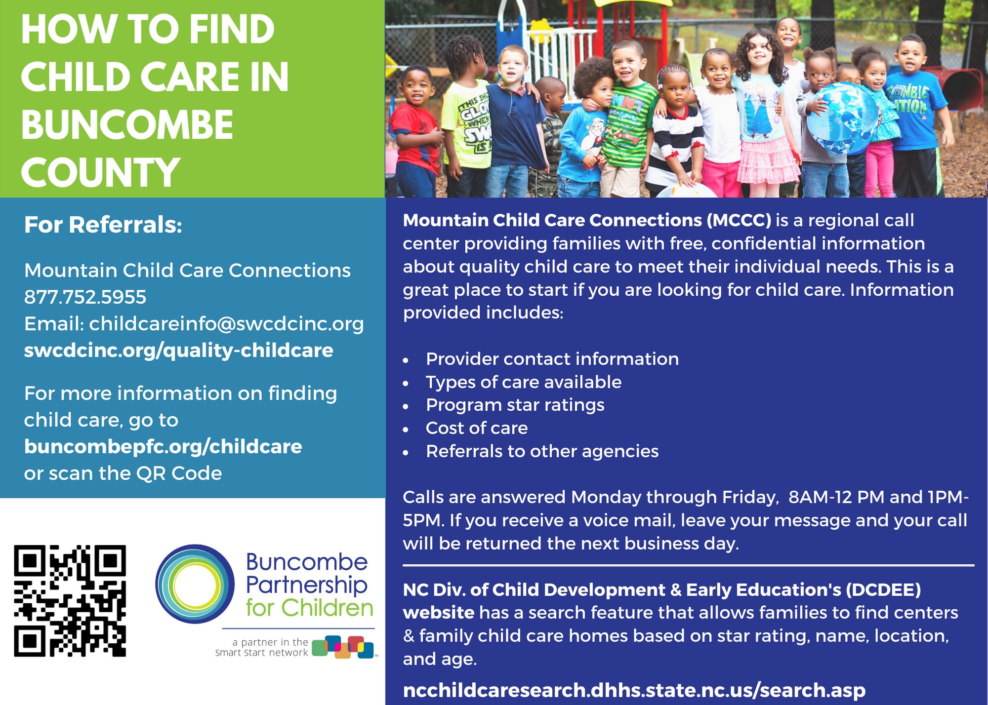 Image that talks about how to find child care in Buncombe County