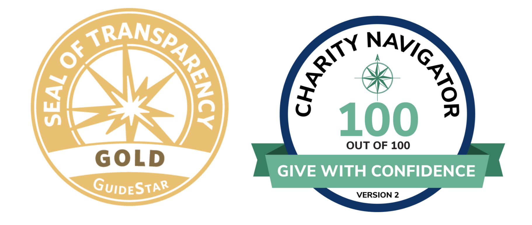GuideStar Gold Seal of Transparency logo and Charity Navigator Score (100 of 100) logo
